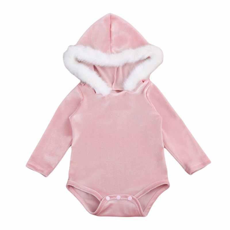 Pudcoco новорожденных с принтом для маленьких мальчиков и девочек, теплый детский комбинезон, комбинезон с капюшоном из мягкого меха Одежда для детей зимняя детская одежда костюм 2 цвета