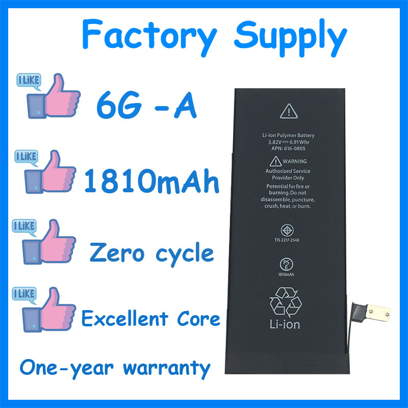 Dadaxiong 10pcs/Lot Factory Supply 1810mah Battery For Iphone 6 6G Genuine Zero Cycle Replacement Repair Parts 6G A