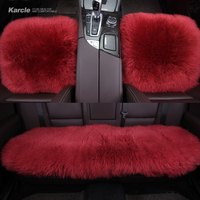 Karcle 1PCS Wool Car Seat Covers Universal Sheepskin Fur Driving Protector Breathable 4 Seasons Cushion Car Styling Accessories