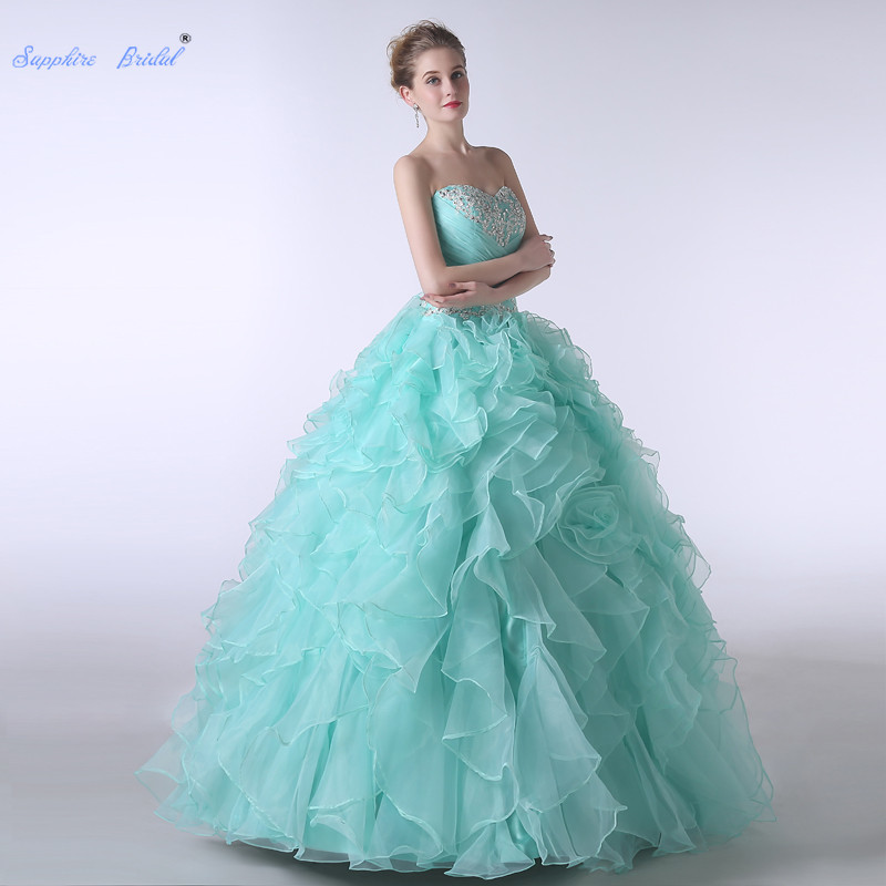 Sapphire Bridal Mint Green Appliques Ruffles Party Gowns Vestido De 15 Anos De Beading Back Strap Ball Gown Quinceanera Dress