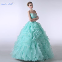 Sapphire Bridal Mint Green Appliques Ruffles Party Gowns Vestido De 15 Anos De Beading Back Strap Ball Gown Quinceanera Dress