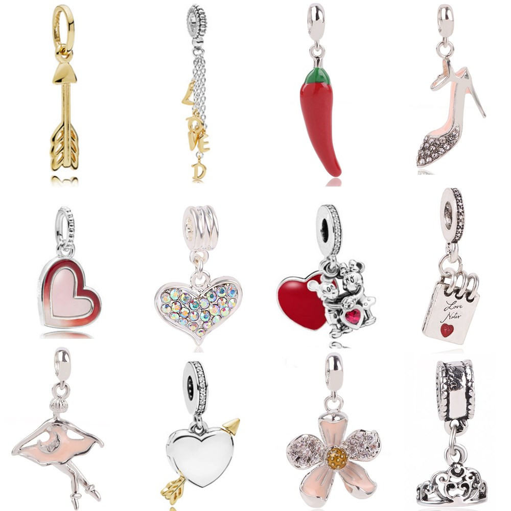 AIFEILI Pendant Series Suitable For Pandora Womens Bracelet Jewelry European Charm Beads Personality Flower Arrow Princess Gift dřevěné dekorace do dětského pokoje