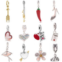 AIFEILI Pendant Series Suitable For Pandora Womens Bracelet Jewelry European Charm Beads Personality Flower Arrow Princess Gift(China)