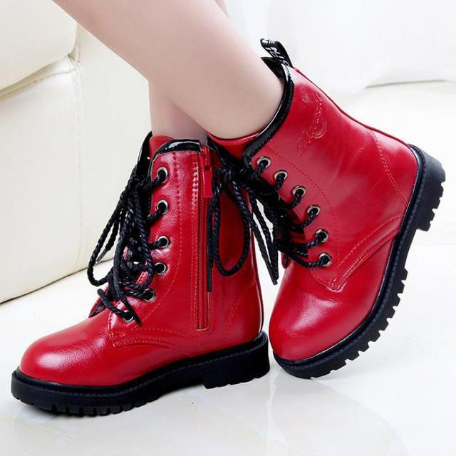 factory authentic low cost save off SKOEX Children's Snow Boots High Top Side Zip Girls Shoes Leather ...