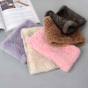 Image 3 - 2019 ฤดูหนาวแหวนถักผ้าพันคอผู้หญิง 100% ของแท้ขนสัตว์ผ้าพันคอ wraps หญิง Scarves สุภาพสตรี mink fur shawls สำหรับผู้หญิง wraps lady