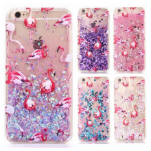 Colorful Flamingos Love Heart Glitter Dynamic Quicksand Liquid Sequins Phone Cases For iphone 5 5S 4s 7Plus 6 6s Hard Back Cover