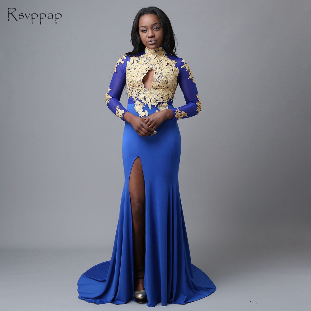 1f94898278c90 Long Sleeve Prom Dresses 2019 Mermaid Sexy High Neck Gold Applique Lace  High Slit Sheer Back African ...