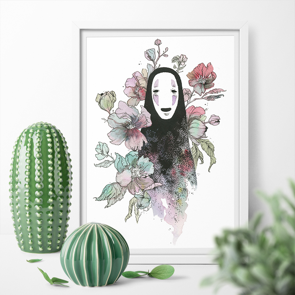 Art Print My Neighbor Totoro No-Face Floral Print Posters And Prints Canvas Painting Wall Art Pictures Home Decor No Frame