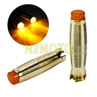 1 Pair Universal Solid Brass 1 Motorcycle Handlebar Emark LED Hand Grips For Harley Cafe Racer Chopper Scrambler Triumph