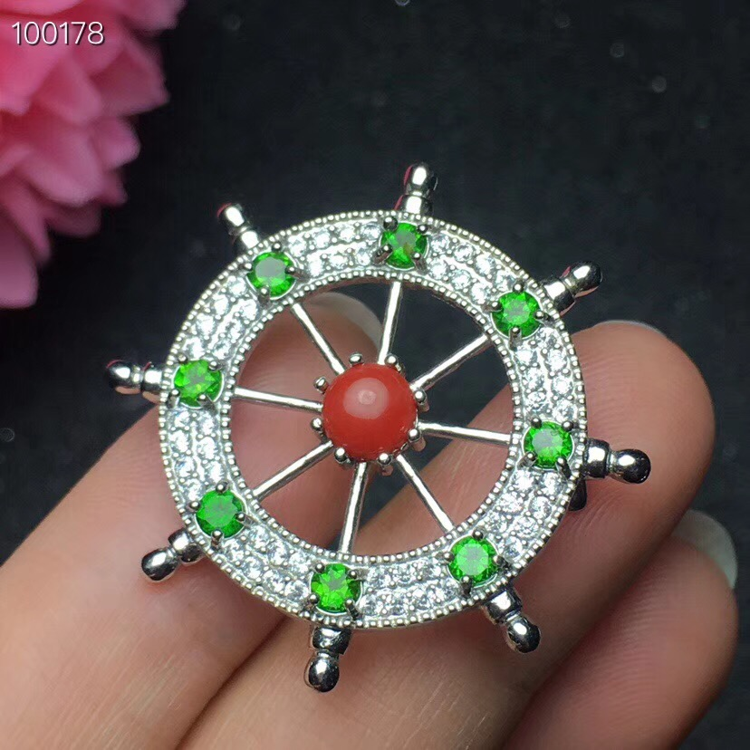 Natural diopside brooch, natural coral, fashion, natural gem store 925 silver-in Pendants from Jewelry & Accessories    1
