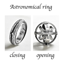 Silver Astronomical Ring for men women metal ball Creative Complex Rotating Cosm