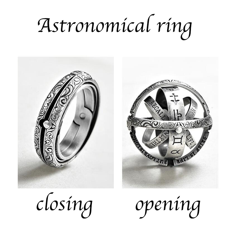 Silver Astronomical Ring for men women metal ball Creative Complex Rotating Cosmic Finger mood ring men fashion jewelry gifts