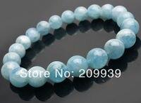 FREE SHIPPING 00470 10mm Natural Blue Brazil STONE Round Elastic Beads Strand Bracelet