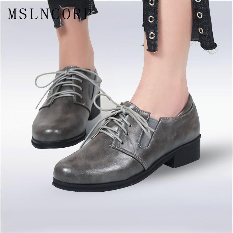 Size 34-48 Spring Autumn Lace-Up Flat Shoes Women Classic Solid Color Round Toe Oxfords Shoes High Quality Retro Casual Shoes new high quality women shoes solid black spring autumn brogue shoes woman s fretwork lace up flat heels round toe oxfords shoes