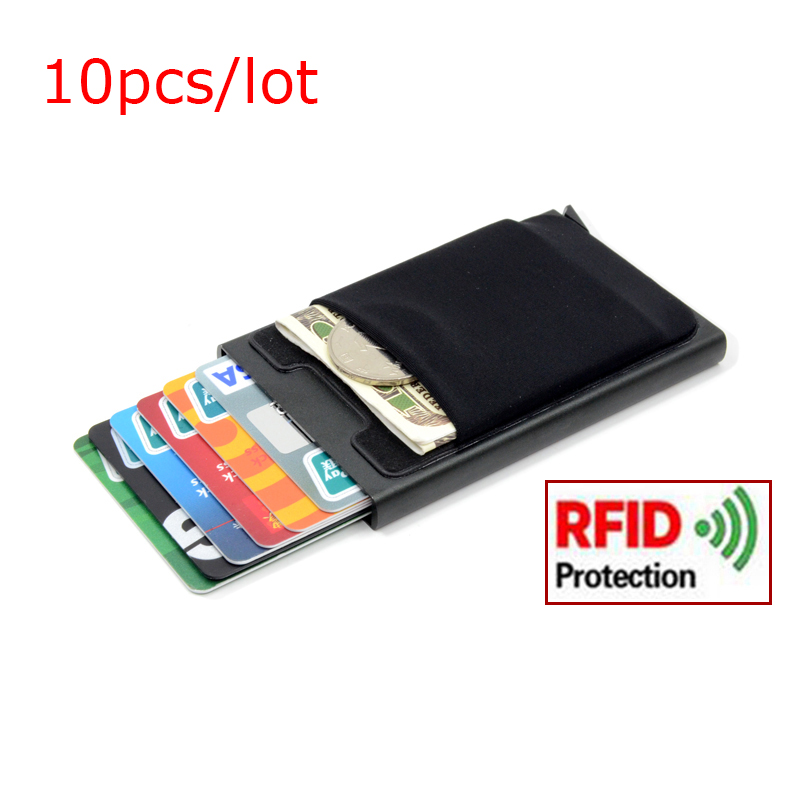 10pcs lot Aluminum Wallet With Elasticity Back Pouch Credit Card Holder RFID Mini Slim Wallet Automatic