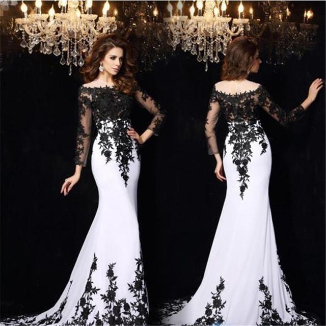 elegant black white evening dresses 2017 long sleeve appliques lace ...