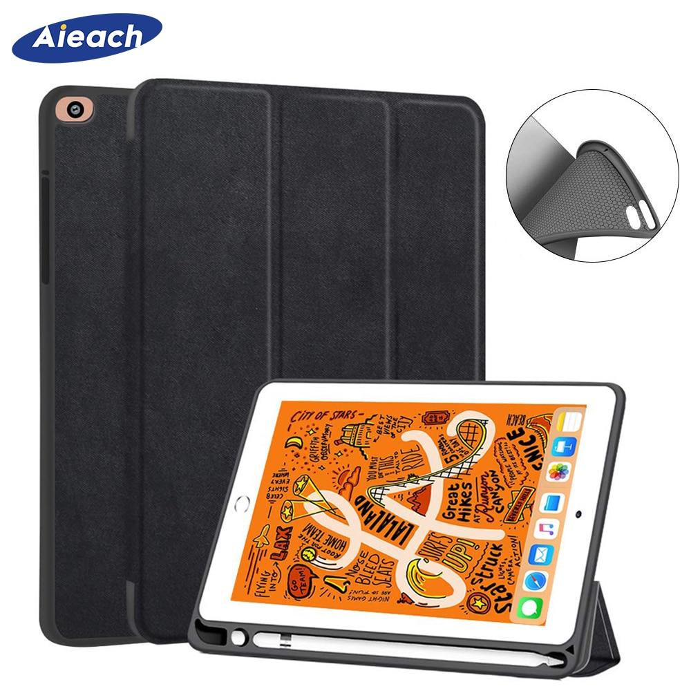 Case For New iPad mini 5 7.9 inch 2019 With Pencil Holder Smart Leather Cloth Texture Silicone Case For iPad mini 1 2 3 4 Funda