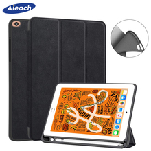 Case For New iPad mini 5 7.9 inch 2019 With Pencil Holder Smart PU Leather Cloth Texture Silicone Case For iPad mini 4 Funda handheld protective pu leather case w holder for the new pad ipad 4 black