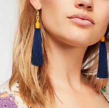 European and American bohemian wind velvet silk tassel earrings female multicolor national wind jewelry(China)