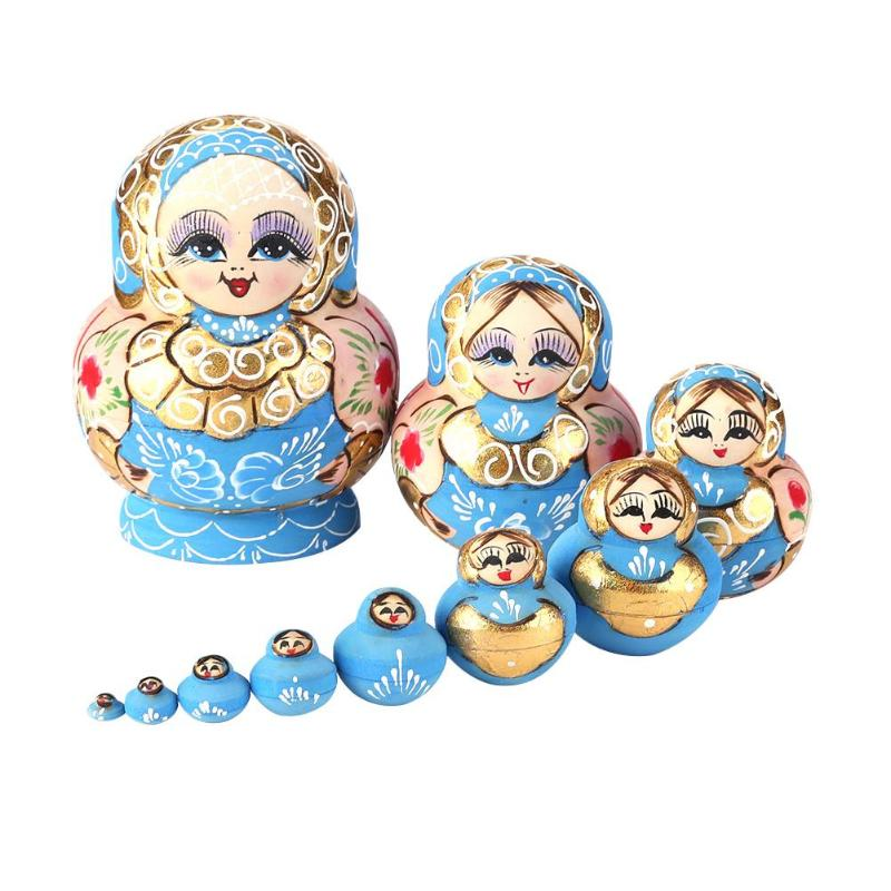 Rusas Juguetes Piezas Color Pintadas Madera Muñecas Azul 10 De Matryoshka Anidar 3R4jLqSc5A