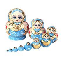 10pcs Wood Matryoshka Dolls Russian Nesting Dolls Blue Color Painted Nesting Toys Home Decoration Ornament Pendant Gifts Set