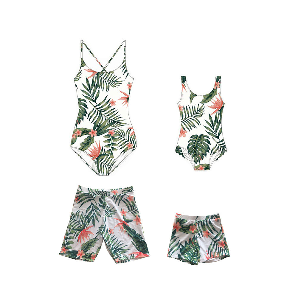 c0bc17f122 2018 Summer Family Matching Clothes Suits Mother Daughter leaves One-pieces  Swimwear Bikini Father Son Casual Swimming Trunks