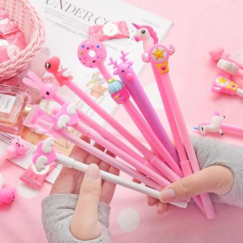 1 PC 0,5mm lindo creativo unicornio Gel bolígrafos firma lápiz Escolar Papelaria escuela Oficina papelería suministro promocional regalo Kawaii