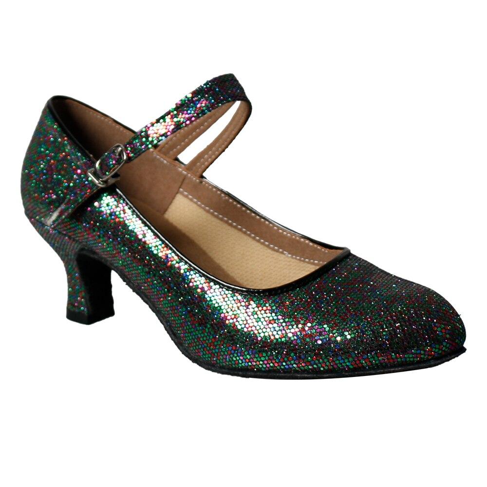 Snelle gratis verzending Gloednieuwe Latin Glitter dansschoenen vrouwen meisjes sociale ballroom feestschoenen dames maat 22-26cm 5cm hak-69
