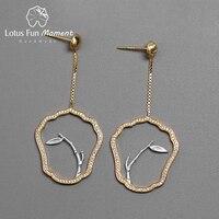 Lotus Fun Moment Real 925 Sterling Silver Handmade Fashion Jewelry Classical Fan Shape Earrings Leaves Drop Earrings for Women
