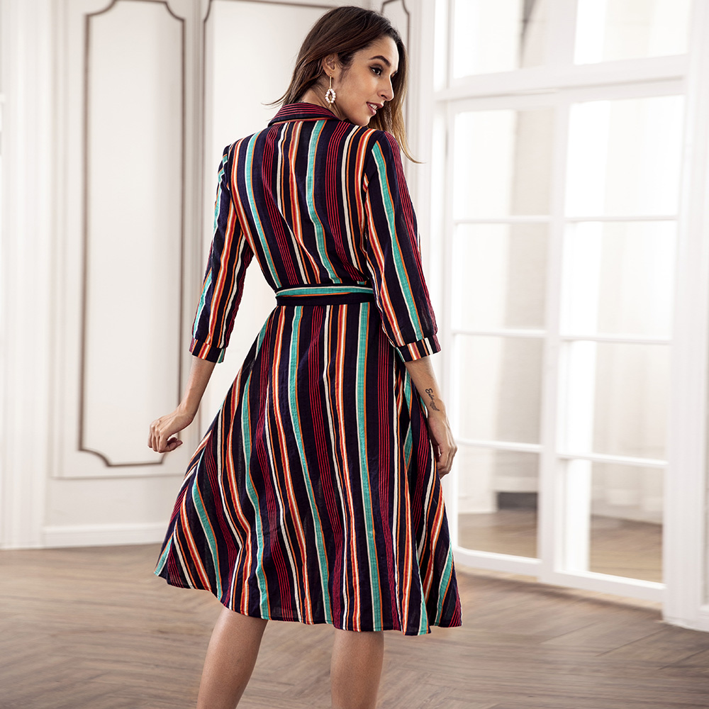 9e1407ce0740a Dower Me Turn-down Collar Modest Striped Women Dress Pockets Midi A-line  Vestidos Sashes Autumn Casual Navy Blue Dresses 2018 | JUANEVA