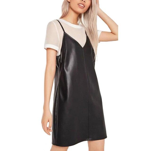 New Fashion 2016 Women Vintage Sexy Black PU Spaghetti Strap Dress V Neck Sleeveless Synthetic Leather Above Knee Dress Vestido
