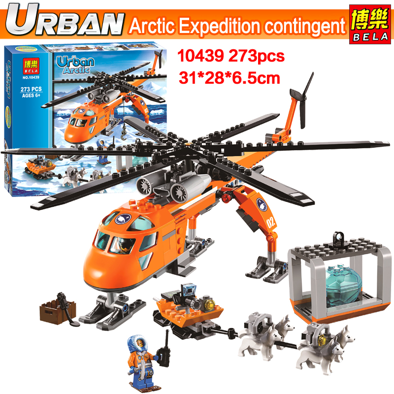 New Bela 10439 273pcs urban series City Arctic Helicrane Helicopter model Building block toys compatible 60034 Toy for Children bela 10439 compatible lepin city arctic helicrane building blocks policeman figure toys for children girls