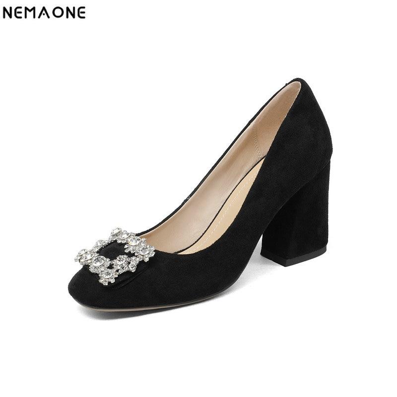 цена на NEMAONE genuine leather shoes women fashion high heels square toe dress shoes woman party office ladies pumps