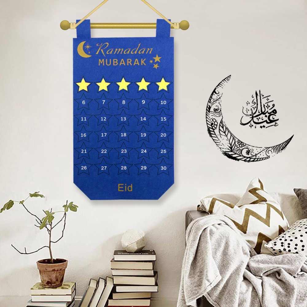 OurWarm EID Mubarak Kareem Sentiu Calendário de Contagem Regressiva Ouro Estrela Adesivo de Parede Pendurado Ramadã Muçulmano Balram DIY Decoração Do Partido