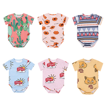 Newborn Baby Girl Boys Short Sleeve Rompers summer baby girl infant Jumpsuit Outfits 100% Cotton baby clothing 0-18M стоимость