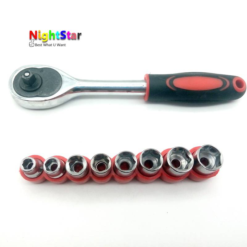 8pc 1/4 Inch Drive Hex Bit Socket Set Socket Wrench Set Wrench Adapter 5/6/7/8/9/10/11/12mm + 1/4 Inch Wrench