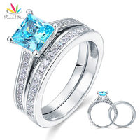 Wholesale 1 5 Ct Princess Cut Blue Created Diamond Solid 925 Sterling Silver 2 Pc Engagement