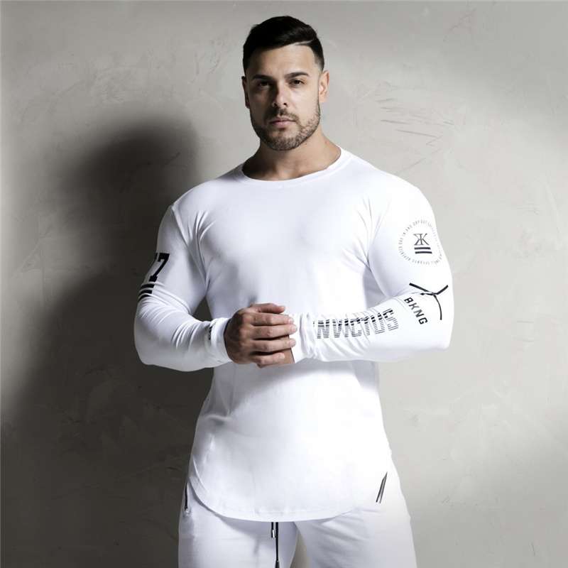 2018 New Men Long sleeves Elasticity Tight t shirts muscle Man Gyms Fitness Bodybuilding Jogger Brand clothing Plus size M-XXXL 2