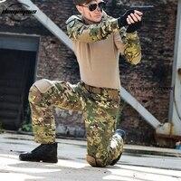 Тактический камуфляжная военная форма Одежда Костюм Для Мужчин Армия США MultiCam охотничий Военная битва рубашка + брюки-карго наколенники