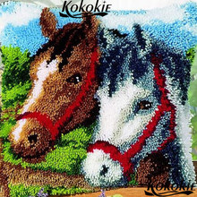 Latch Hook Pillow Kits cushion blanket horse printed cartoon Cross-stitch Unfinished Embroidery Pillowcase Crocheting Rug Kits(China)