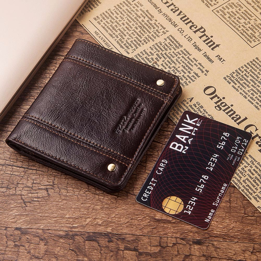 GZCZ Men Wallets Purse Card-Holder Short RFID Slimline Male Design Mini Genuine-Leather