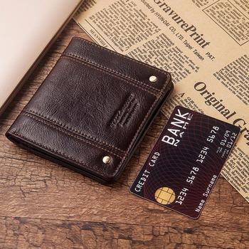 GZCZ ultra – thin Wallet Brand Design Genuine Leather RFID Men Wallets With Card Holder Fashion Slimline Male Short Mini Purse