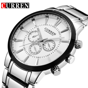 Image 1 - Curren Fashion Big dial Casual quartz watch Mens stainless steel Military Wristwatch waterproof Brand Relogio Masculino Male