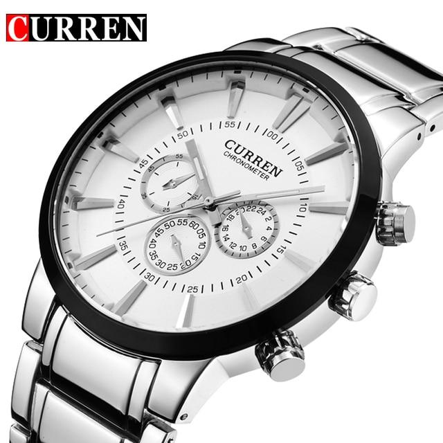 Curren Fashion Big dial Casual quartz watch Mens stainless steel Military Wristwatch waterproof Brand Relogio Masculino Male