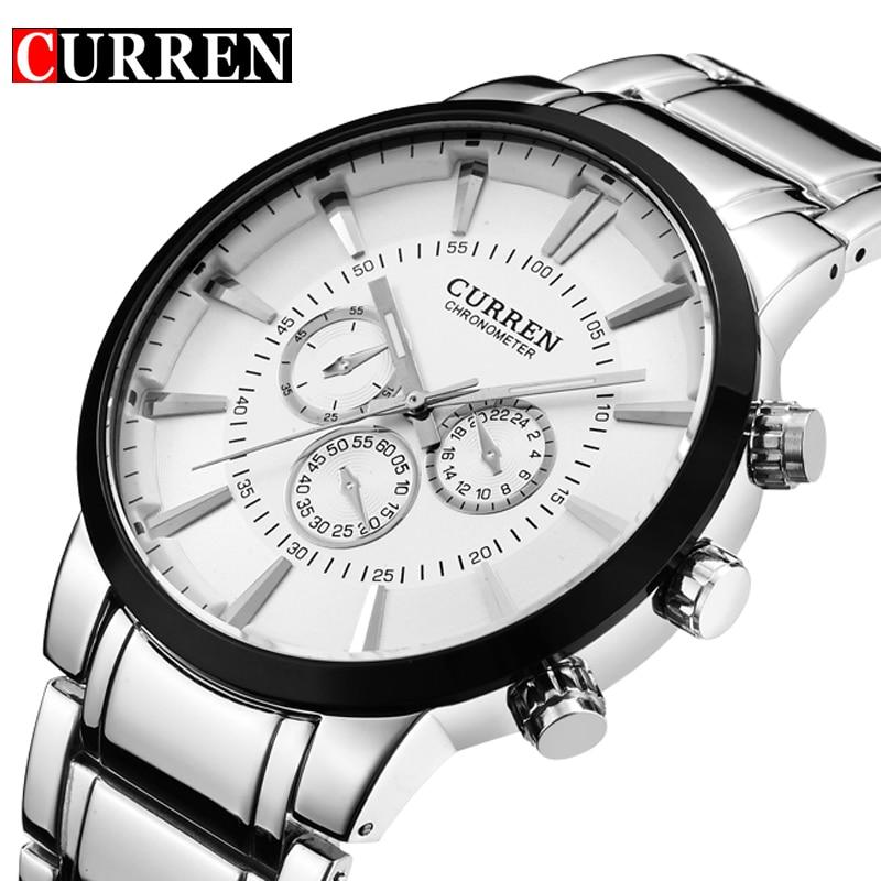 Curren moda Big dial reloj de cuarzo casual hombres de acero inoxidable Militar reloj impermeable Relogio Masculino