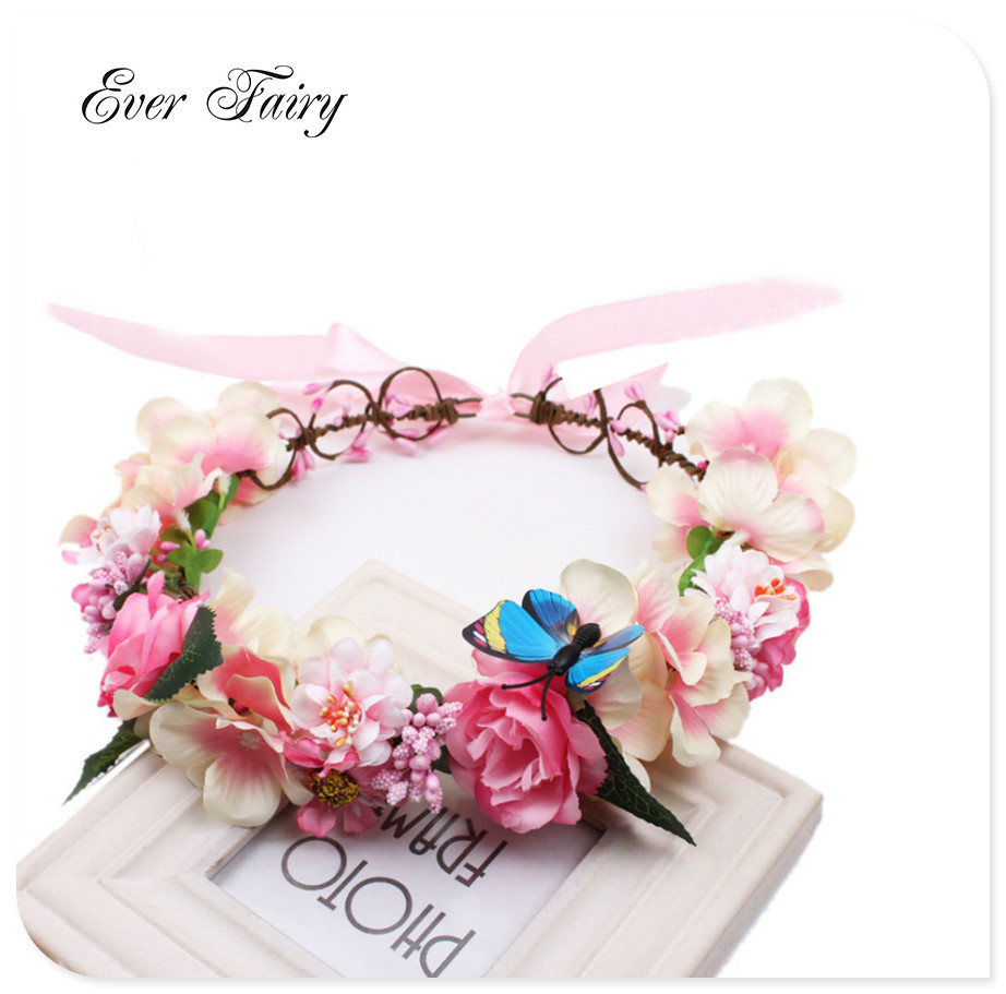2018 women newest wedding floral garland with ribbon adjustable women flower crown 2017new female bohemia adjustable corolla rose bride wedding party wreath flower hair accessories izmirmasajfo Image collections