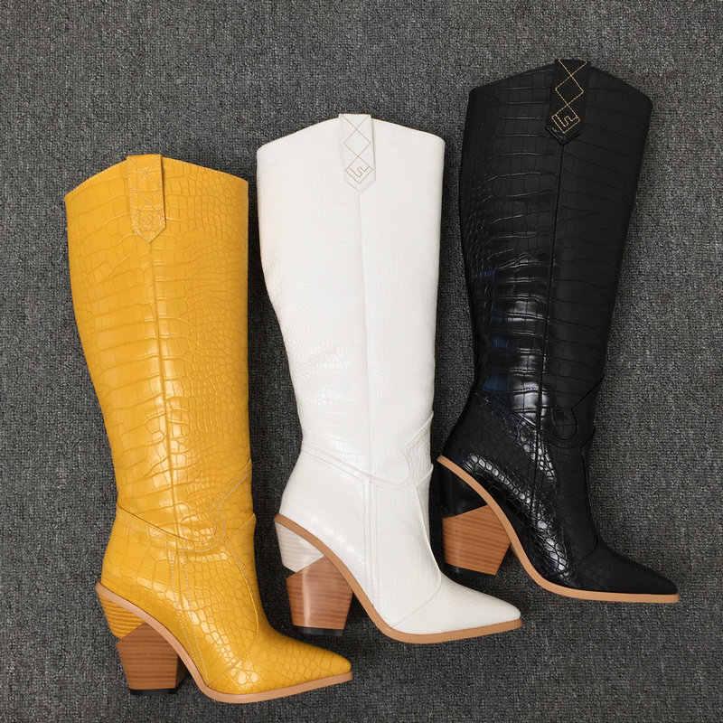 Siyah sarı beyaz diz yüksek çizmeler batı kovboy çizmeleri kadınlar için uzun kış çizmeler kadın ayakkabıları sivri burun kovboy çizmeleri 2019