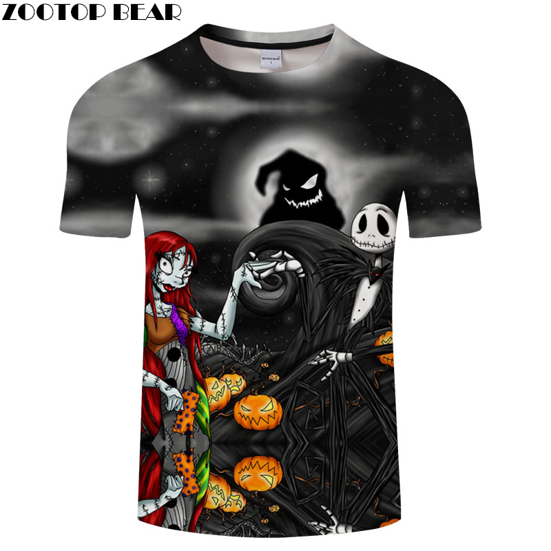 Jack and Sally Printed tshirt Men Women t shirt 3d Top Tee Brand t-shirt Short Sleeve Halloween Camiseta Drop Ship ZOOTOP BEAR