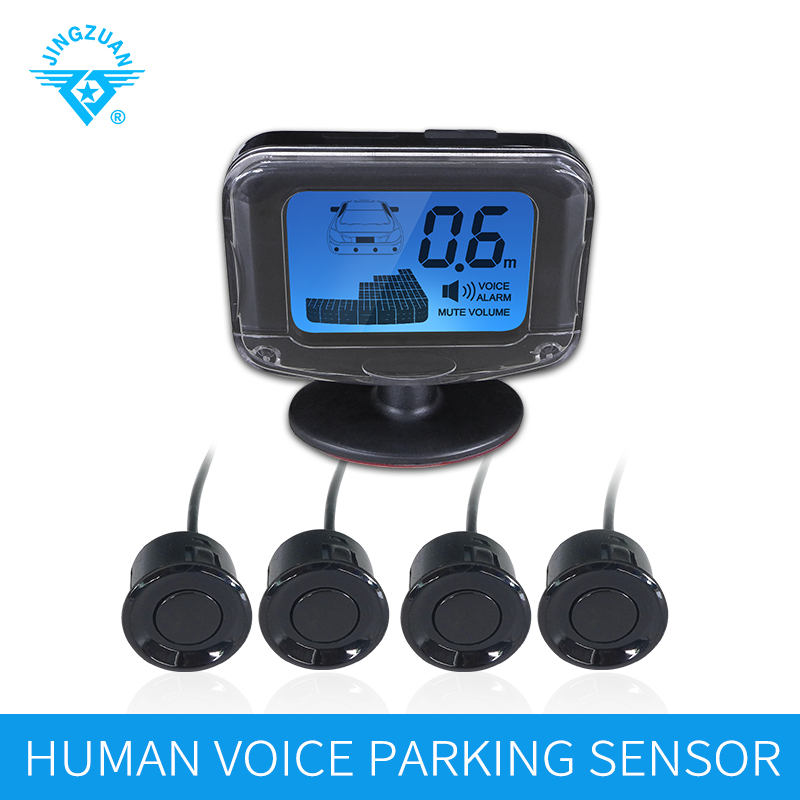 JINGZUAN Car Auto Parktronic Human Voice Parking 4 Parking Sensors Monitor Detector System LCD Display Parking Assistance in Parking Sensors from Automobiles Motorcycles