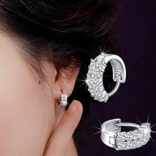 925 Pure Silver In Ear Earrings Small Hoop Double Sparkling Diamond Stud Earring Anti
